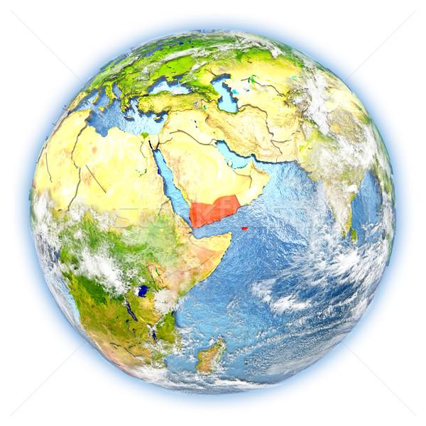 Jemen aarde geïsoleerd Rood aarde 3d illustration Stockfoto © Harlekino