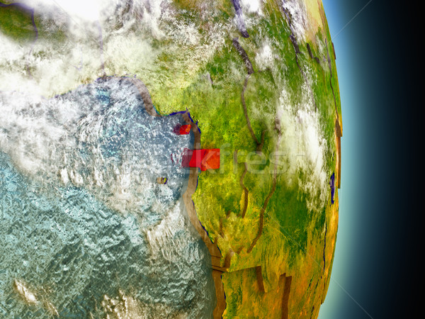 Equatorial Guinea in red from space Stock photo © Harlekino