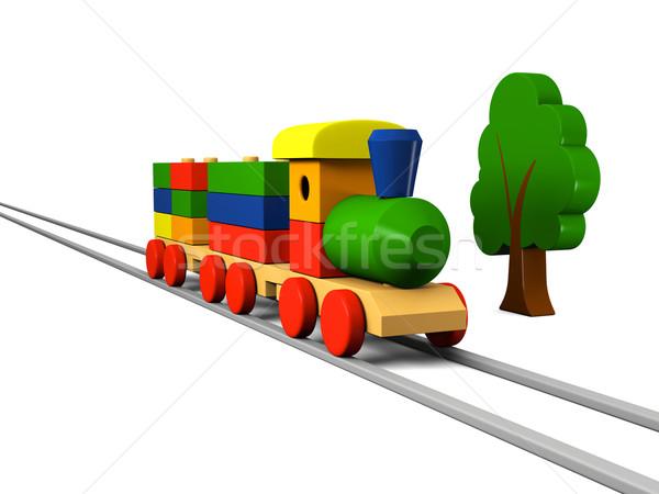 Ahşap oyuncak tren 3d illustration renkli ahşap model Stok fotoğraf © Harlekino