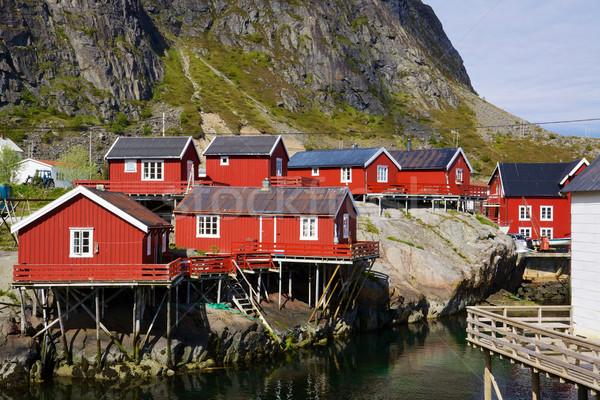 живописный рыбалки типичный красный Норвегия Сток-фото © Harlekino