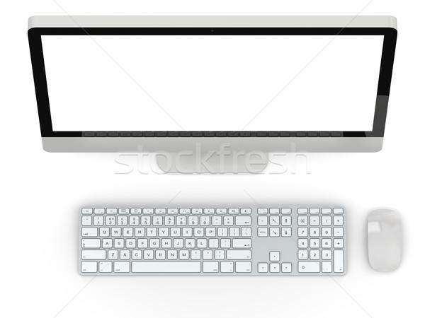 Asztali számítógép modern fehér képernyő izolált számítógép Stock fotó © Harlekino