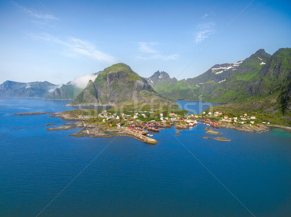 Breathtaking aerial view of scenic fishing village A on Lofoten islands in Norway with traditional r Stock photo © Harlekino