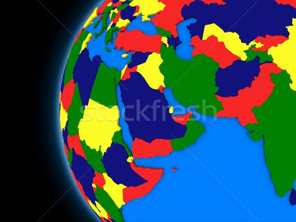 Midden oosten regio politiek aarde illustratie wereldbol Stockfoto © Harlekino