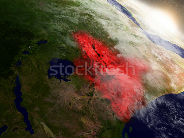 Kenya from space highlighted in red Stock photo © Harlekino