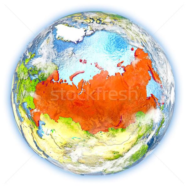 Russia terra isolato rosso pianeta terra illustrazione 3d Foto d'archivio © Harlekino