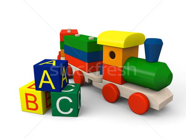 Oyuncak tren 3d illustration renkli ahşap oyuncak bloklar Stok fotoğraf © Harlekino