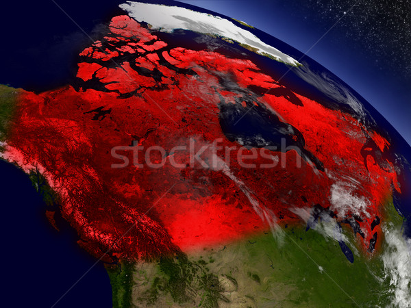 Canada from space highlighted in red Stock photo © Harlekino
