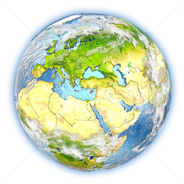 Cyprus aarde geïsoleerd Rood aarde 3d illustration Stockfoto © Harlekino