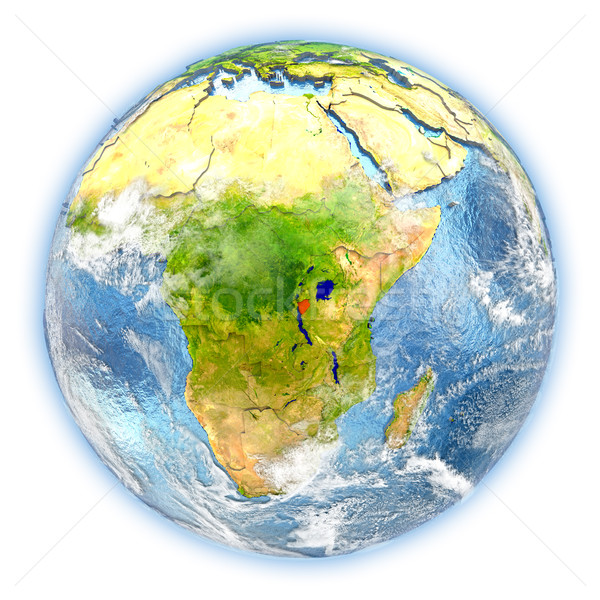 Burundi terra isolado vermelho planeta terra ilustração 3d Foto stock © Harlekino