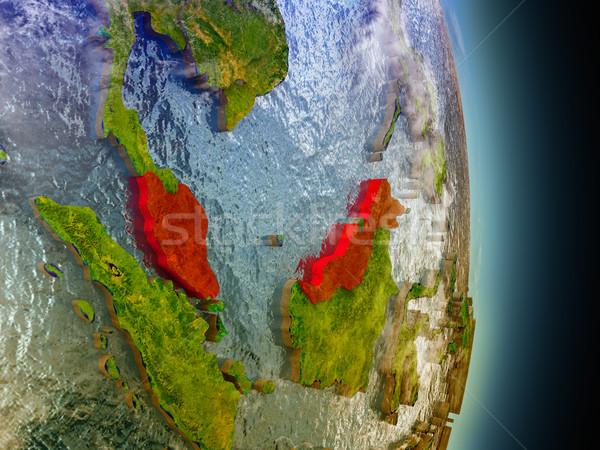 Malaysia in red from space Stock photo © Harlekino
