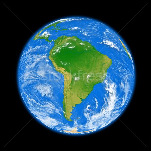 Güney amerika toprak dünya gezegeni yalıtılmış siyah elemanları Stok fotoğraf © Harlekino