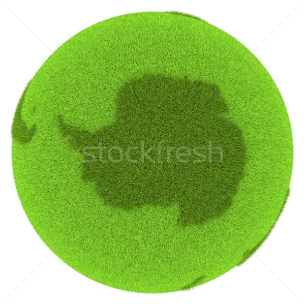 Stockfoto: Groene · planeet · gedekt · gras · geïsoleerd · witte