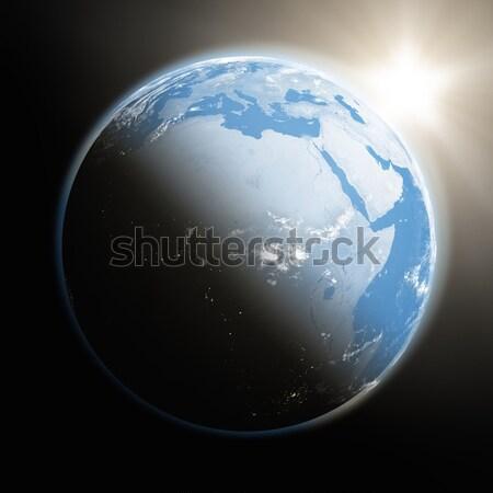 Stock fotó: Napfelkelte · Afrika · űr · kilátás · nap · emelkedő