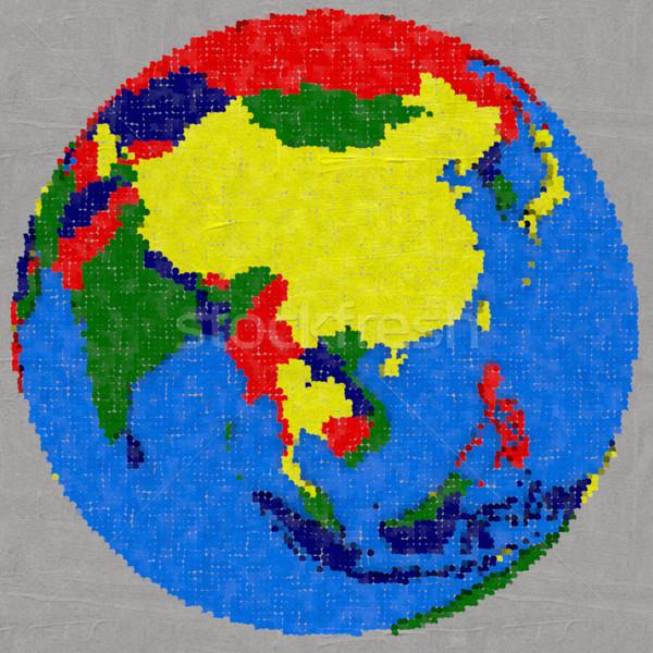 Drawing of southeast Asia on Earth Stock photo © Harlekino
