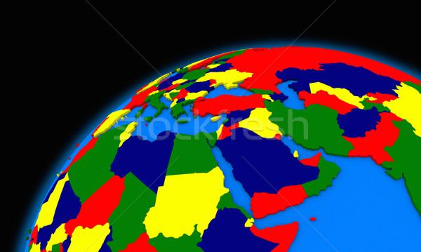 middle east region on planet Earth political map Stock photo © Harlekino