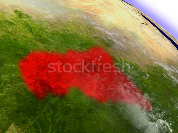 Central Africa from space highlighted in red Stock photo © Harlekino