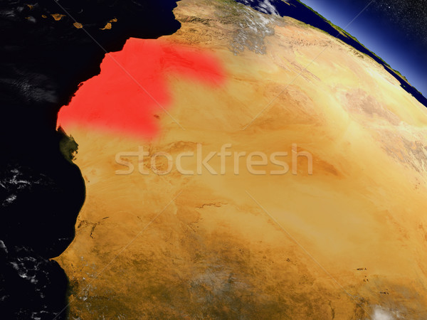 Western Sahara from space highlighted in red Stock photo © Harlekino