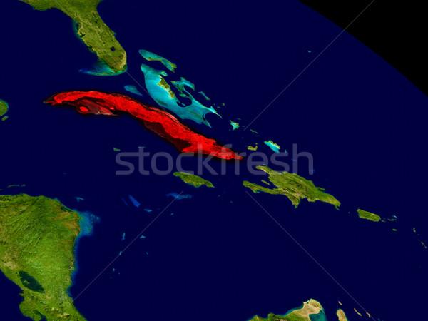 Куба пространстве красный 3d иллюстрации подробный Сток-фото © Harlekino