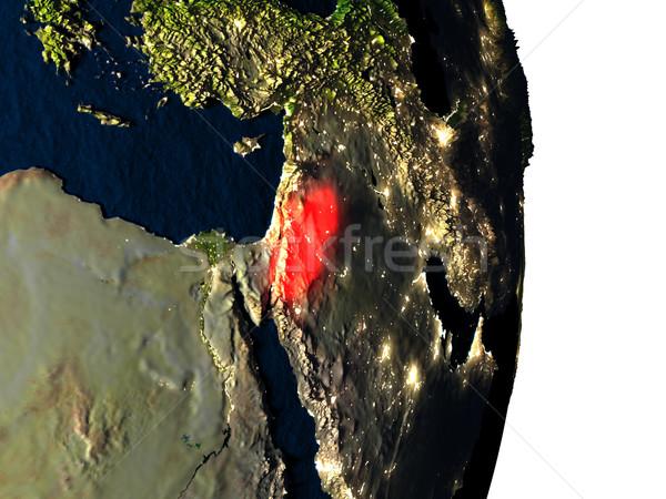 Przestrzeni zmierzch czerwony City Lights orbita 3d ilustracji Zdjęcia stock © Harlekino