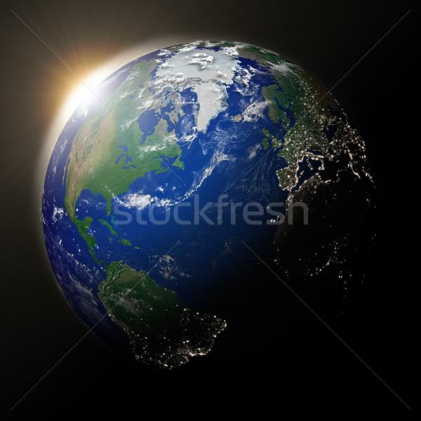 Foto stock: Sol · norte · américa · planeta · terra · pôr · do · sol · azul