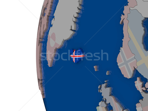 Iceland with national flag Stock photo © Harlekino