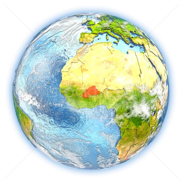 Burkina terra isolato rosso pianeta terra illustrazione 3d Foto d'archivio © Harlekino
