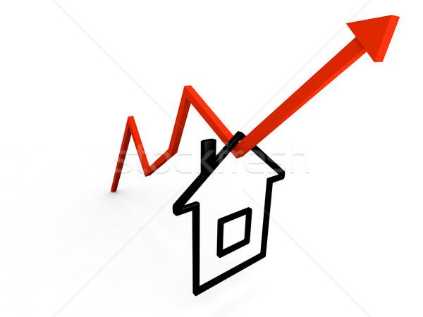 Domu wiszący rozwój tendencja symbol line Zdjęcia stock © Harlekino