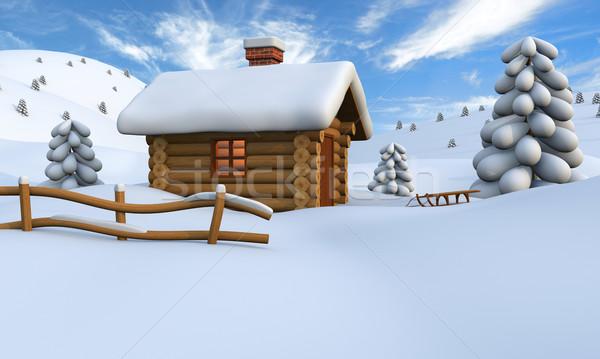 Log cabin in snow Stock photo © Harlekino