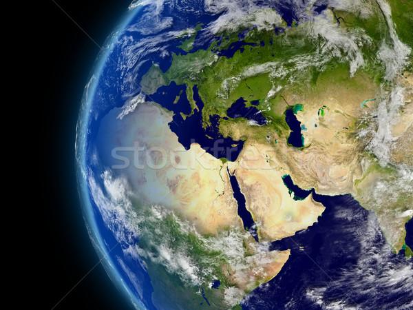 Avrupa Orta Doğu Afrika uzay atmosfer bulutlar Stok fotoğraf © Harlekino