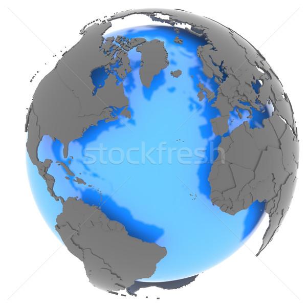Stockfoto: Continenten · continent · oceaan · permanente · uit · Blauw