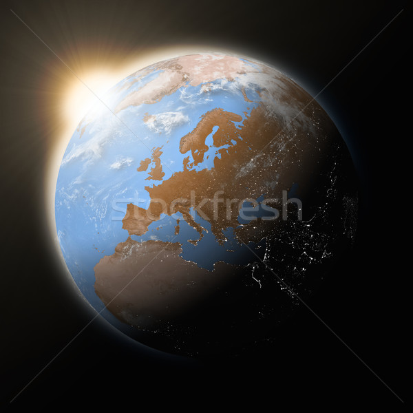 Sol europa planeta terra azul isolado preto Foto stock © Harlekino