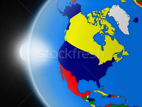 Wygaśnięcia na północ amerykański kontynent przestrzeni planety Ziemi Zdjęcia stock © Harlekino