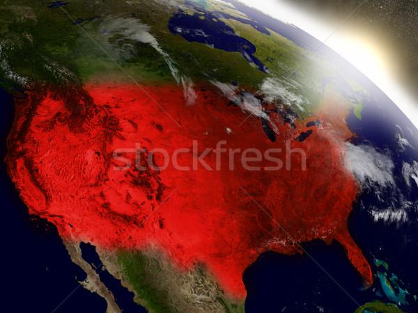 USA Raum rot Orbit 3D-Darstellung sehr Stock foto © Harlekino