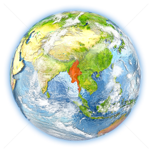 Myanmar aarde geïsoleerd Rood aarde 3d illustration Stockfoto © Harlekino