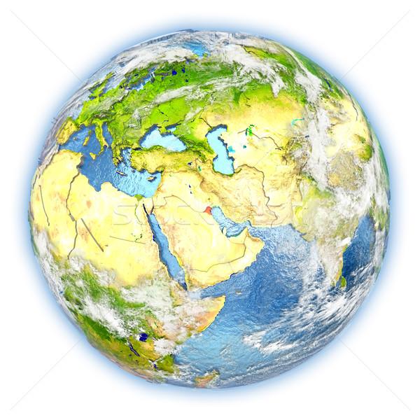 Кувейт земле изолированный красный планете Земля 3d иллюстрации Сток-фото © Harlekino