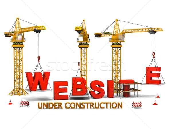 Stock fotó: Weboldal · építkezés · épület · izolált · fehér · billentyűzet