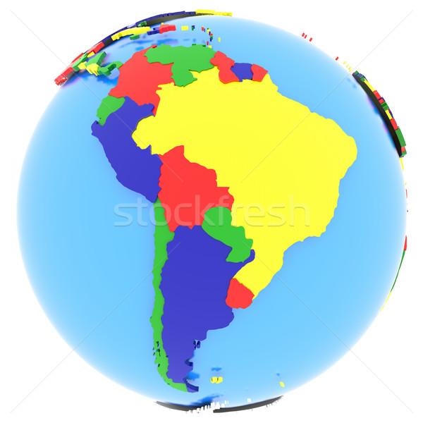 América del sur tierra político mapa mundo países Foto stock © Harlekino