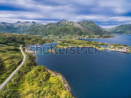 Scenic road on Lofoten islands Stock photo © Harlekino