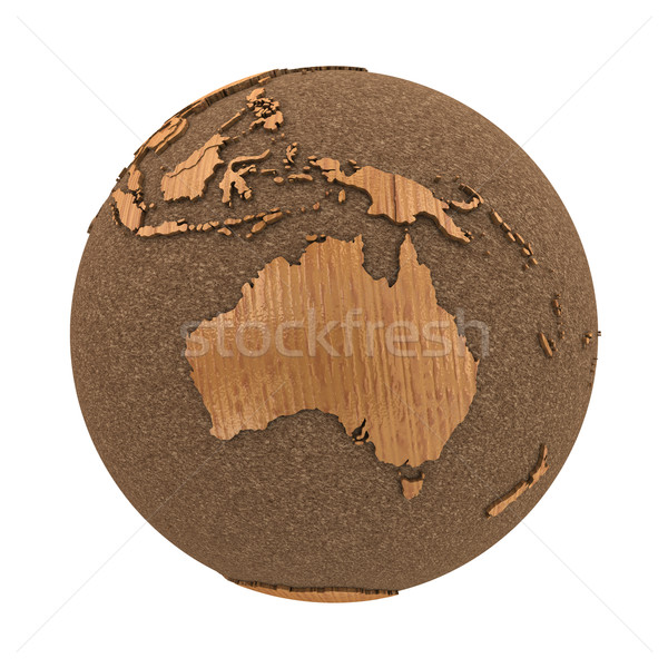 Australia on wooden planet Earth Stock photo © Harlekino