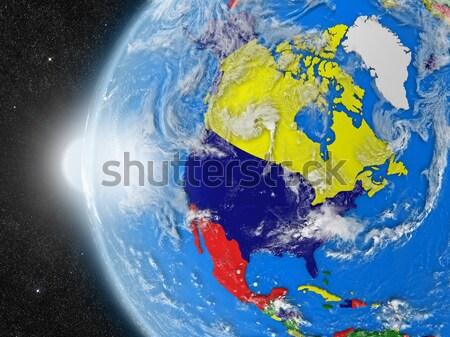 Ближнем Востоке пространстве Восход регион орбита 3d иллюстрации Сток-фото © Harlekino