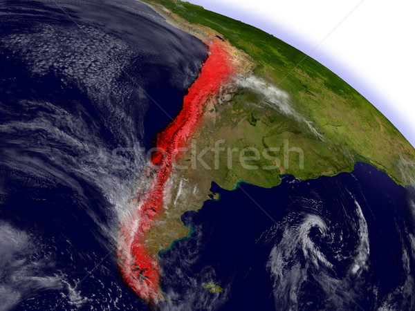 Chile from space highlighted in red Stock photo © Harlekino