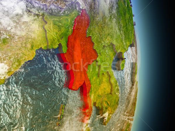 Myanmar kırmızı uzay model yörünge 3d illustration Stok fotoğraf © Harlekino