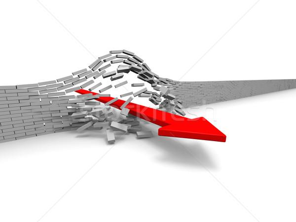 Sukces ilustracja czerwony arrow murem przełom Zdjęcia stock © Harlekino