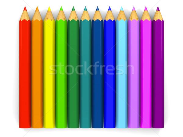 цвета карандашей вверх искусства изолированный Сток-фото © Harlekino
