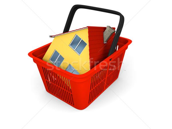 Modell ház bevásárlókosár 3d illusztráció piros műanyag Stock fotó © Harlekino