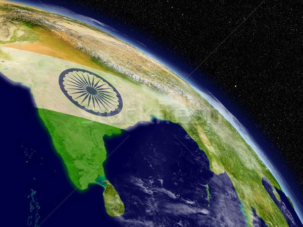 India with flag from space Stock photo © Harlekino