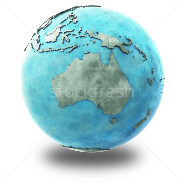 Australia on marble planet Earth Stock photo © Harlekino