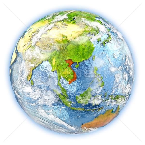 Viêt-Nam terre isolé rouge planète terre 3d illustration Photo stock © Harlekino