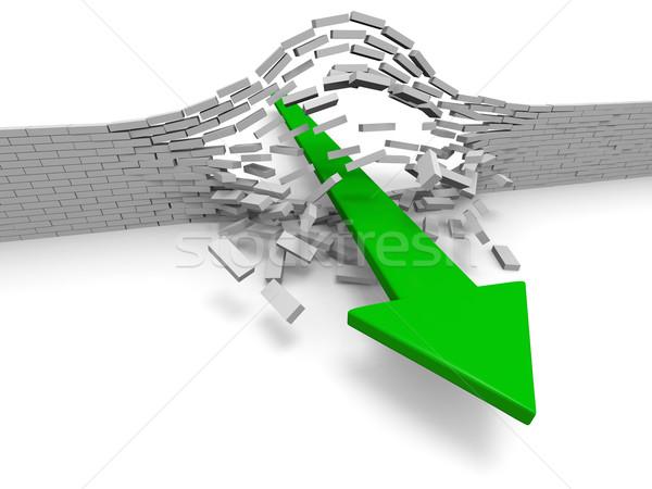 прорыв иллюстрация зеленый стрелка кирпичная стена успех Сток-фото © Harlekino