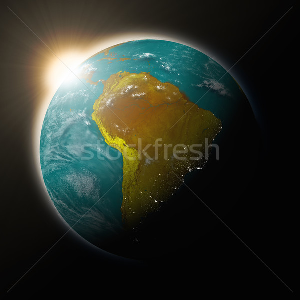 Sol américa del sur planeta tierra azul aislado negro Foto stock © Harlekino